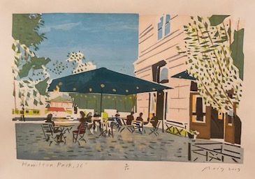 Screen print of GP's outside of Hamilton Park