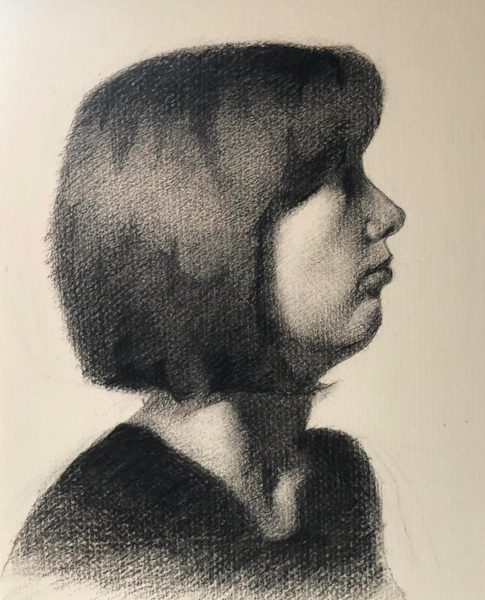 Charcoal self portrait of artist