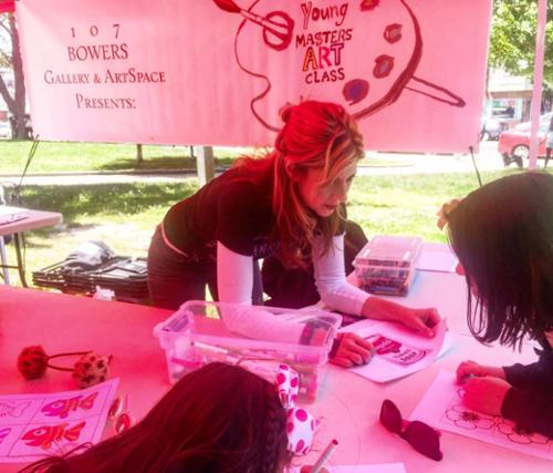 Kristin J. DeAngelis teaches Young Masters Art Class at the Riverview Farmers Market in Jersey City, NJ.