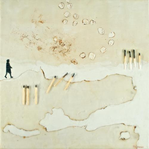 """A Land Better Known"". Francesca Azzara. Encaustic and mixed media on panel. 15"" x 15"". $550 plus tax."