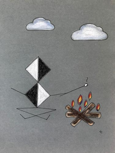"Lisa Collodoro ""Roasting Marshmallows"" Pastel and archival ink on paper 15"" x 12"", Framed $300 plus tax"