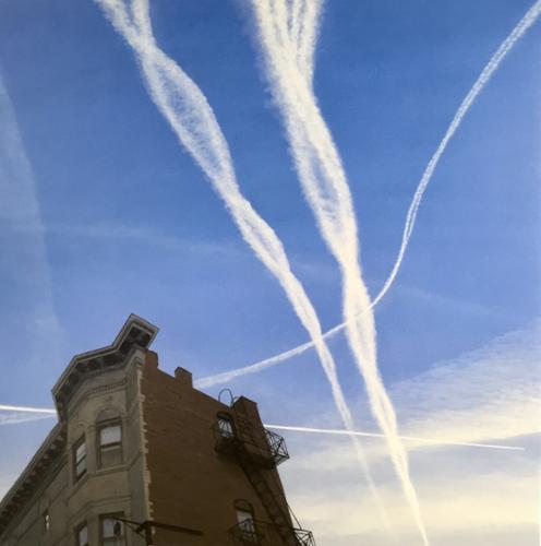 """Sister Contrails Over Hoboken"".   Tim Daley. Acrylic on Canvas. 48"" x 48"" Framed. $9,000 plus tax."