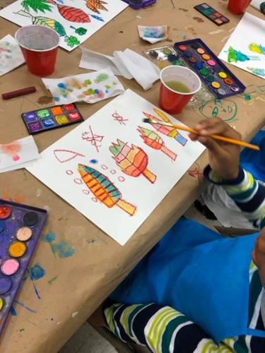 Young Masters Art Class at the Bethune Center:  Fall Leaves - Watercolor project
