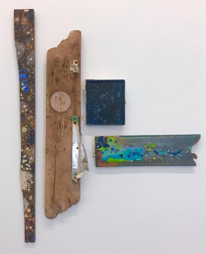 """What the Sky Knows"".   Eileen Ferara. Mixed Media on reclaimed wood. 40"" x 36"". $3,200 plus tax."