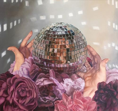 "Lisa Ficarelli-Halpern ""Still Life with Disco Ball and Peonies"" Oil on canvas  30"" x 32"" $2,800 plus tax"