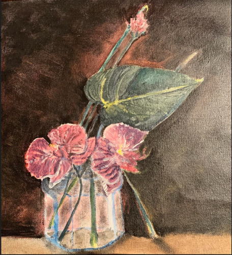 "Diana Gonzalez. ""Cup of Blooms"".  Acrylic on canvas. 9"" x 11"". $150 plus tax."