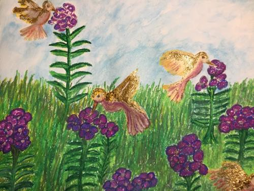 "Hope Taylor.  ""Nature's Unity"". Oil pastels, watercolor and glitter. 18"" x 24"". $150 plus tax."