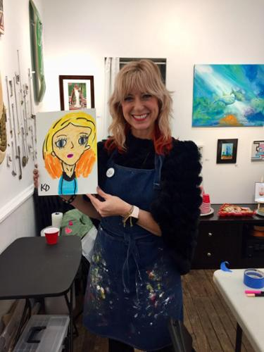 Teaching Artist, Kristin J. DeAngelis with Portrait by Young Masters Artist