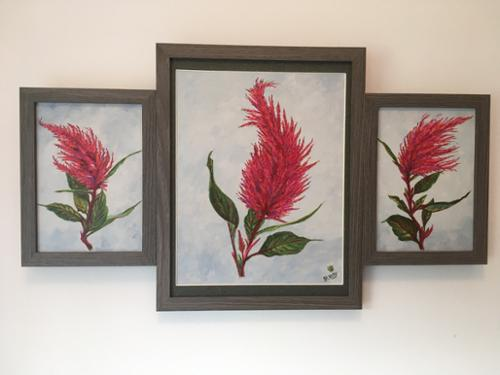 "Joan Kelly.  ""The Dance of the Celosia"". Acrylic on Canvas.	11 3/4"" x 20 3/4"". $1,000 plus sales tax."
