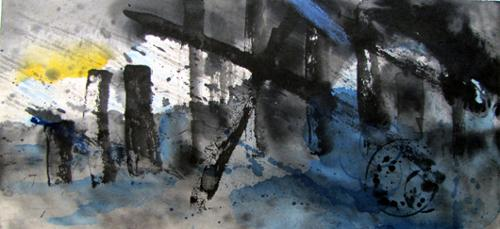 """Storm Coming"".   Dierdre Kennedy. Sumie and Watercolor on Rice Paper. 18"" x 32"" Framed. $1,875 plus tax."