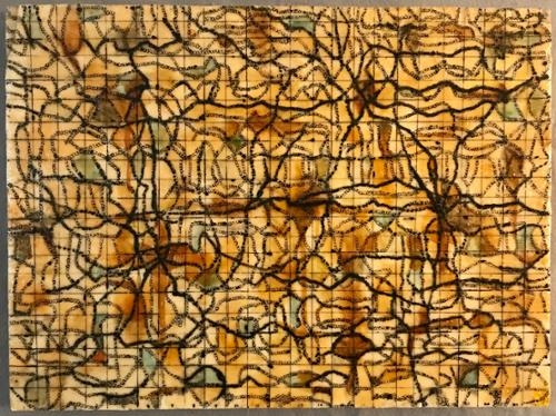 """Crossroads"".   Megan Klim. Encaustic, ink, oil, shellac on wood. 18"" x 24"". $475 plus tax."