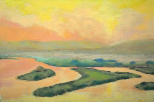 """Marsh"".   Robert Kosinski. Acrylic on Canvas. 24"" x 36"". $1,000 plus tax."