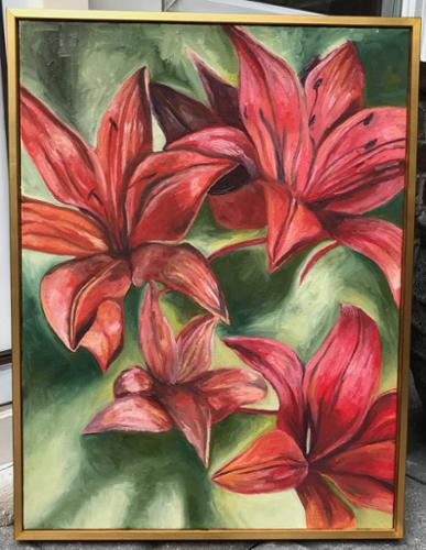 "Brian Tepper. ""Red Flowers"". Oil on Canvas. 19"" x 25"".	$1250 plus tax."