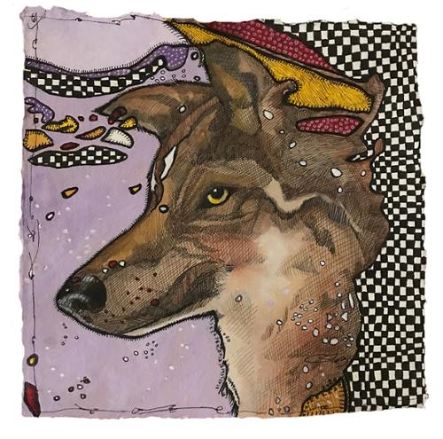 "Cheryl Gross ""Trampled Rose Ranch, Wolf"" Mixed Media on Paper 12"" x 12"" $550 plus tax"