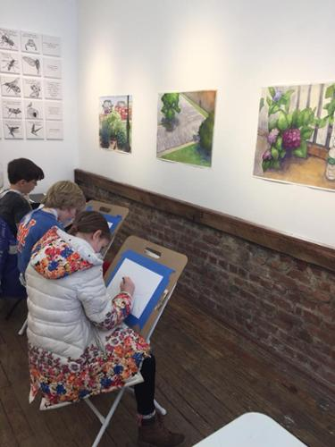 Young Masters Art Class study works of artists all over the country.  Artist inspiration includes works by Flavia Berindoague and Richard Estrin.